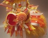 Thanksgiving Fall OTT Boutique Hair Bow Cupcake Lollipop Feather Fascinator Rhinestone Birdcage Veil Photo Prop Costume Hat Birthday Hat