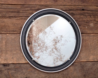 Pioneer Turntable Platter repurposed upcycled - Round Wall Mirror / Ottoman Tray / Vanity Tray III