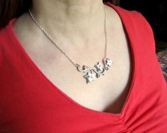 Art Nouveau Necklace Art Deco Necklace Fantasy Jewelry Gothic Necklace Sterling Pendant Steampunk Necklace Silver Leaf Necklace- Entangled