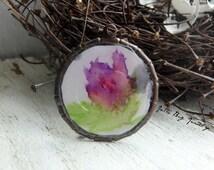Purple Va-voom flower- art resin pendant original painting. purple watercolor flower. small brass bezel. jewelry finding. Jettabugjewelry