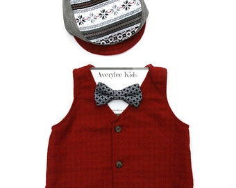 Boys Red Flannel Vest, Red Tonal Check Vest for Boys, Fashion Valentine for Children, Valentine Outfit