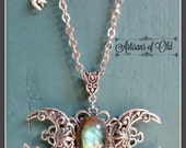 Triple Moon Goddess Necklace, Labradorite, Wiccan, Pagan