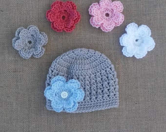 Girl crocheted Hat,with 5 Flowers, Baby girl Hat, Newborn Hat, Light Gray Flower Hat, Photo Prop, Crochet Hat, Hat with 5 changable Flowers,