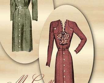 1940s Dress Pattern Swing Era V Neckline Tailored Day Dress Front Button Closure * Paneled Skirt Bodice Pockets Bust 36 McCall 5796