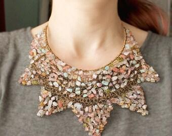 Bib Necklace, Gemstone Jewelry, Wire Crochet Necklace, Pastel Jewelry, Amethyst Quartz, Semi Precious Gemstones, One-of-a-Kind Necklace
