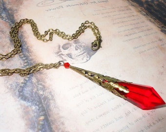 Ruby Red Crystal Divination Necklace, Dowsing Tool, Crystal Prism, Pendulum, Witches Tool, Goddess, Altar Tool, Red Crystal, Wiccan, Pagan
