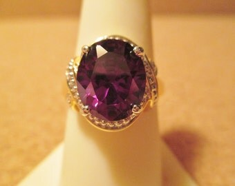 New HUGE PURPLE GEMSTONE Amethyst 10ct Ring 18kgp cocktail wedding Stunning Piece Beautiful Big Stone 18k Yellow Gold Over Sterling Silver