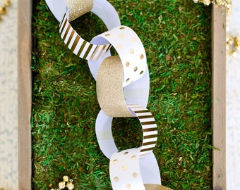 Gold Foil Glitter Dots Paper Chain Garland Banner Christmas Tree Napkin Rings Wedding Birthday Party Anniversary Baby Shower Bridal