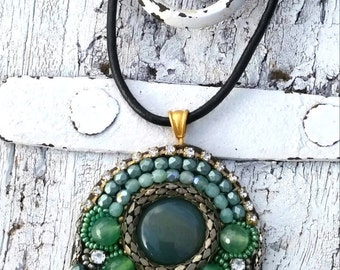 Green Embroidered Pendant, Semi Precious Stone, EMbroidered necklace, One Of A Kind, Beaded NeCKlace