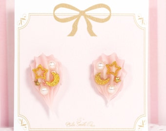 Whipped Cream Star Moon Earrings