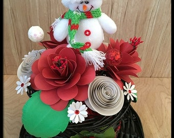 Christmas Flower Centerpiece - Snowman Hat - Holiday Arrangement - Festive Decoration - Hostess Gift - Housewarming Present