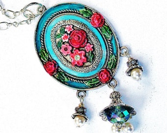 Romantic Silver Rose Pendant Necklace Hand Painted Boho Victorian Jewelry FREE SHIPPING