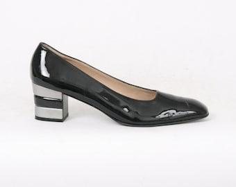 PATENT Leather Salvatore FERRAGAMO Womens 9 Aaaa Au 8 Black Silver Block Heel Slip On Pumps Formal Designer Vintage Courts 80s Narrow Shoes