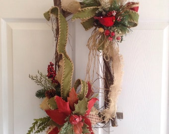 Christmas Vintage Log Decor / Christmas Door Decoration / Vintage Wood Log  Decor / Christmas Wood