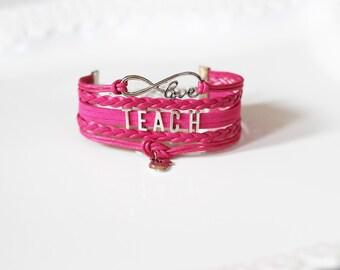 Love Infinity TEACH Apple Fuchsia Cord Bracelet