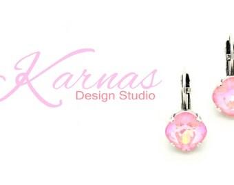 ULTRA CORAL AB 12mm Crystal Drop Earrings 2016 Swarovski Elements Cushion Cut *Pick Your Finish *Karnas Design Studio *Free Shipping*