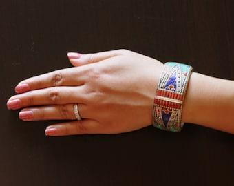 Vintage Tibetan Cuff Bracelet - Lapis, Coral, Turquoise Inlay - Traditional Tibetan Bracelet - Ethnic Jewelry - Antique Piece