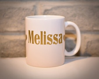 Personalized Name Monogram Coffee Mug - Golden or Silver Vinyl Mug - Custom Mug - Made to Order - Typographic Mug Gift for Him Gift for Her
