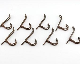 Vintage Schoolhouse Coat Hooks Set of 8 Screw in Wire Hooks
