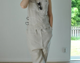 Handmade linen blouse from our ****street-style-collection***with many front pockets, in pre washed stone colored linen
