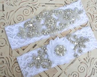 Wedding Garter Set, Wedding Garter, Bridal Garter, Crystal Rhinestone Pearl Garter, Garter Plus Size, Vintage Garter,  Stretch Lace  Garter