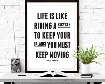 Life is like riding a bicycle, White wall decor, Albert Einstein quote, Printable art, Bicycle print, Subway art print, Motivational