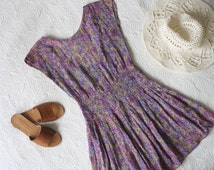 Floral Purple Backless Mini Dress   90s Indian Gauze Floaty Babydoll Mini Hippie Dress   Festival Bohemian Fitted Waist Tent Dress