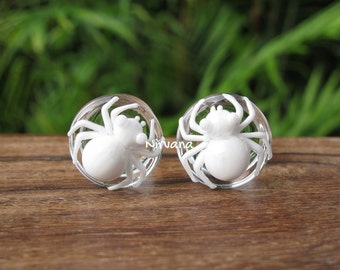 "White Death Poison Spider Glass Plugs 4g 2g 0g 00g 7/16"" 1/2"" 9/16"" 5/8"" 3/4"" 1"" 5 mm 6 mm 8 mm 10 mm 12 mm 14 mm 16 mm - 25 mm"