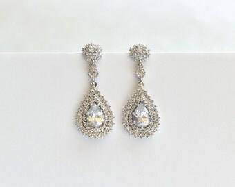 Bridal Wedding Earrings Cubic Zirconia Teardrop Earrings Vintage style Bridal Crystal CZ Earrings Bridal Jewelry