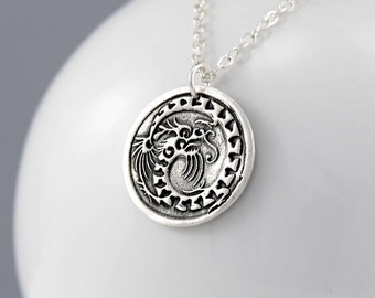 Dragon Necklace, Silver Chinese Dragon Pendant Necklace, Year of the Dragon Necklace, Sterling Silver Dragon, Dragon Jewelry