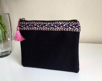 Boho Zippered Pouch,Black Cosmetic Bag,Canvas Zippered Pouch,Boho Make up bag,boho small bag,embellished bag,Coin purse,pencil case