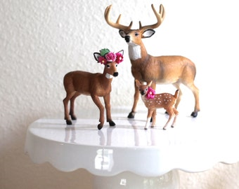 Family Wedding Cake Topper Rustic Cake Topper Woodland Wedding Deer Cake Topper Cake Decoration Baby Deer Buck Doe Fawn