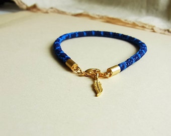 Blue Shurikens Japanese Kimono Cord Bracelet // Turkish Satin Gold Feather Charm // Matte Gold End Caps // Chirimen Cord Bracelet