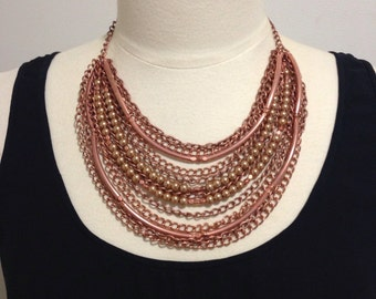 Rose gold necklace chain necklace rose gold statement necklace rose gold jewelry bib necklace kirstenann Australia -Imogen Chain Necklace