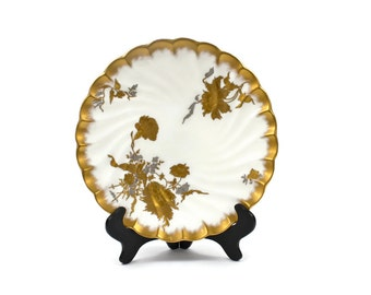 English Cabinet Plate - Gold and Silver Encrusted Floral Sprays, Antique Bone China Plate, Powell Bishop & Stonier, Mint, c.1885