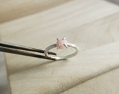Pink Opal Stacking Ring - Faceted Pink Opal Stone Sterling Silver Hammered Stacking Ring