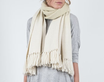 White woven shawl, Wool Wrap blanket scarf, Natural Organic merino wool undyed with fringes, Scarf to dye  by texturable