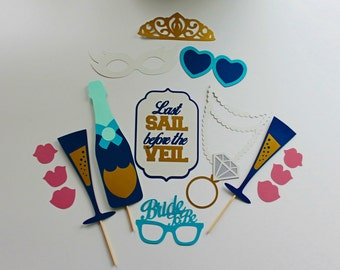 Bachelorette Photo Booth Props - Last Sail Before The Veil  - 16 Pc Wedding Photobooth