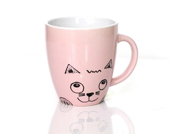 Cat tea mug Chat Cat cups Cat lover gift Tea cup Unique Coffee mugs Chat tasse Tazza gatto Canecas Cat mug Cat lover mug Cat coffee mug
