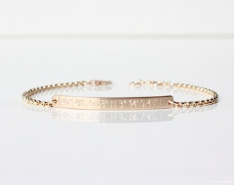 Coordinates Bracelet - Hand-Hammered Bar - GPS Bracelet - Latitude Longitude - Custom Engraved Bracelet - Sterling Silver - 14K Gold-Filled