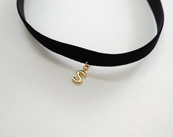 Black Choker,initial necklace,Black Velvet Choker,Personalized necklace, Basic Velvet Choker, Simple Choker, choker necklace