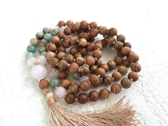 African Opal Mala Necklace, Long Tassel Mala Beads, Yoga Meditation Beads, 108 Mala Beads, Hand Knotted 108 Bead Mala