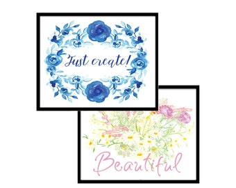 5x7 Print Set: Gift for Mom - Printable Art - Typography Prints - Inspirational Print - Pink - Blue - Floral Art - Motivational Quote Print