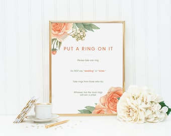 """Modern Rustic Garden Bridal Shower Game - """"Put a Ring on it"""" Sign / Don't Say Game"""