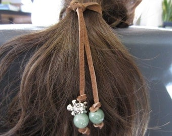 Sea Turtle, Leather Hair Tie, Leather Hair Accessories, Boho Hair Jewelry, Hanging Beads. Leather Anniversary, Stone Beads