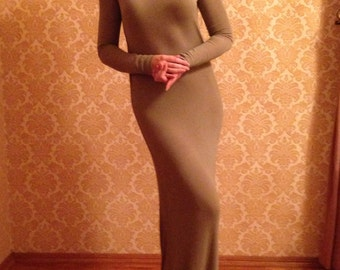 Vintage Transformer Dress. 3 Variants of Wearing. Light Gray/Brown/Khaki Thin Jersey