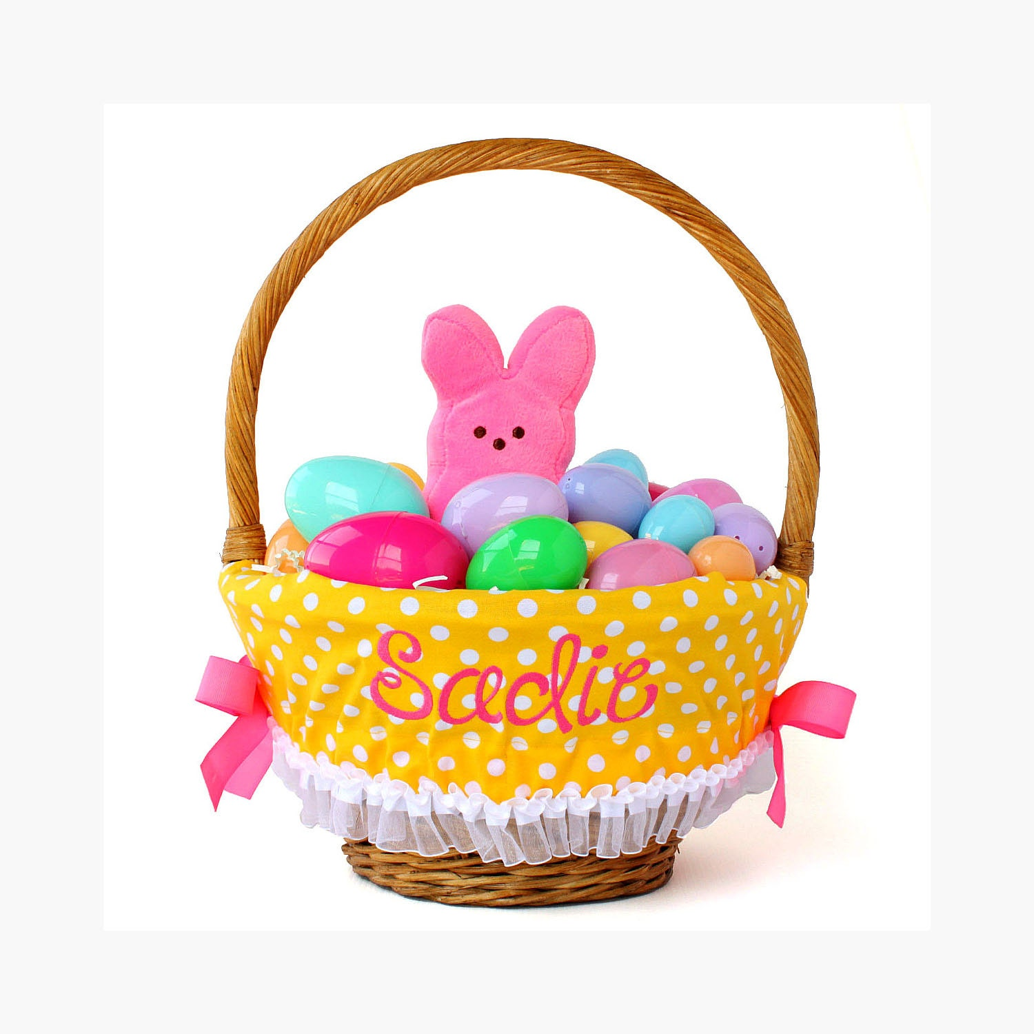 Personalized Easter Basket Liner Yellow Dots By