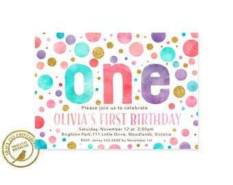 Confetti 1st Birthday Invitation | Dot Birthday Invite | 1st Birthday Polka Dot Party |  1st Birthday Digital | Printable DIY | 1552