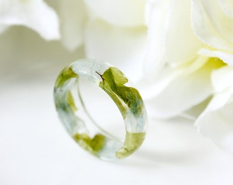 Resin / ring / blue / Real Flower Jewelry, Resin Flower Ring, Real Flower Rings, Gift for her, Cool Ring, Botanical Jewelry, Pressed Flowers