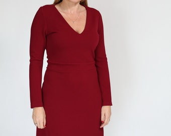 Red wine casual Dress  a line dress a line winter dress with long sleeve and v neck